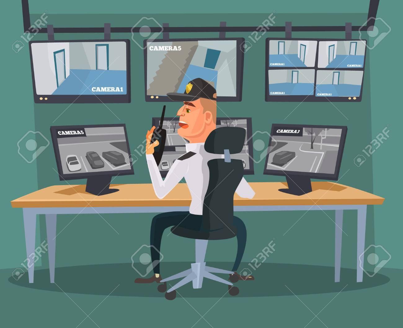 Security guard character watching cameras. Vector flat cartoon illustration - 71079319