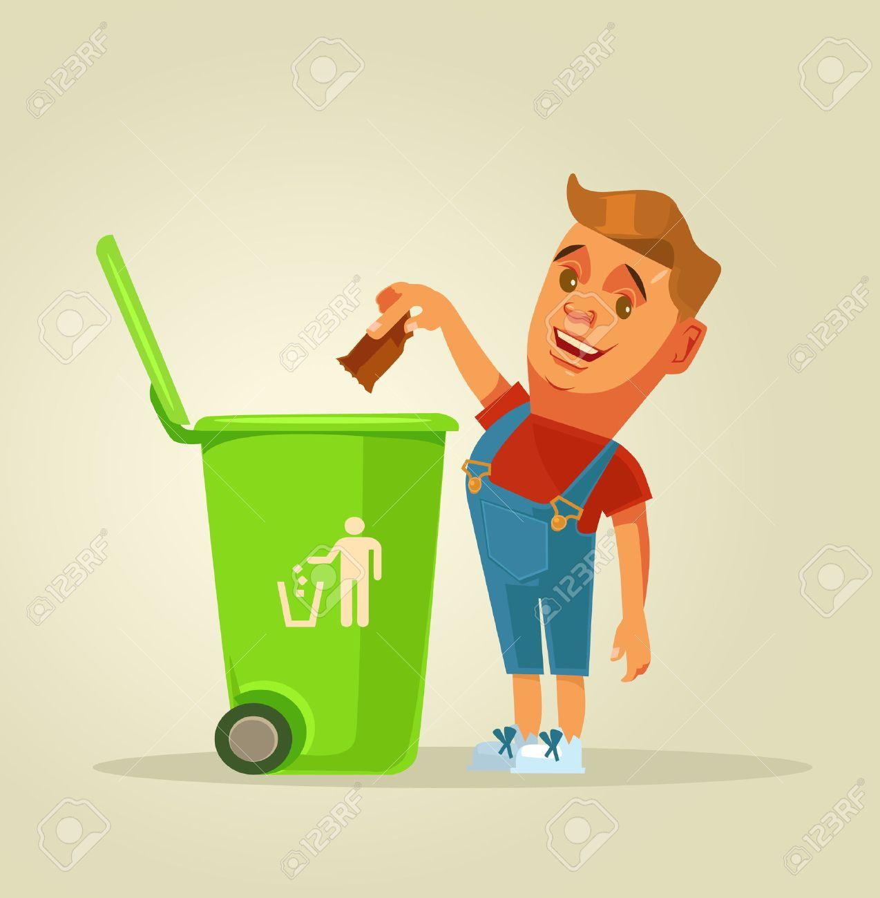 Boy character throws garbage in trash. Vector flat cartoon illustration - 71547003