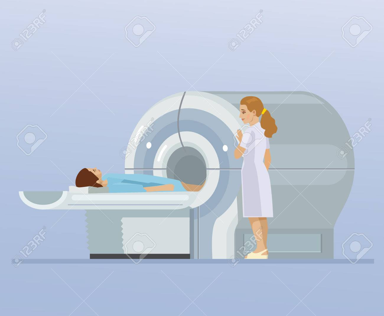 CT scan and patient. Vector flat cartoon illustration - 71547011