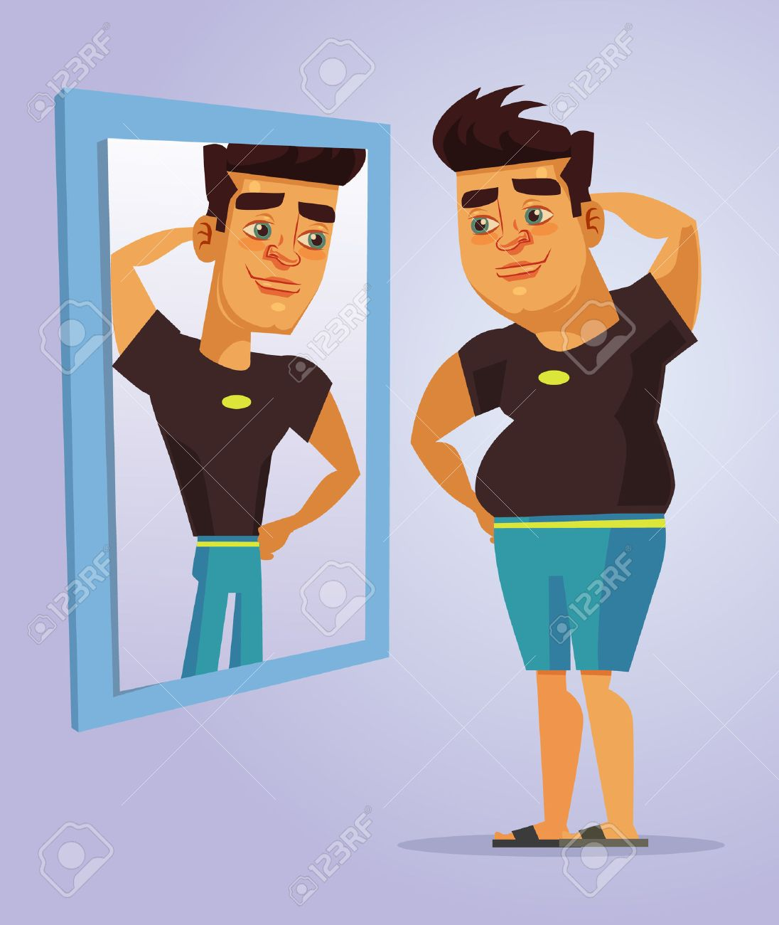 fat man character pretend to be strong man in mirror vector