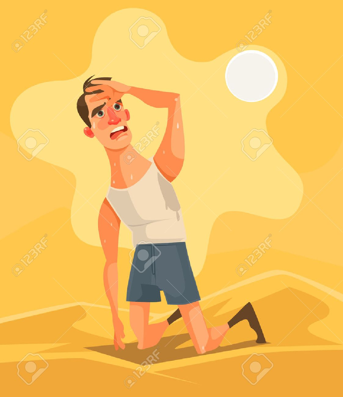 Hot weather and summer day. Tired unhappy man character in desert. Vector flat cartoon illustration - 75020242