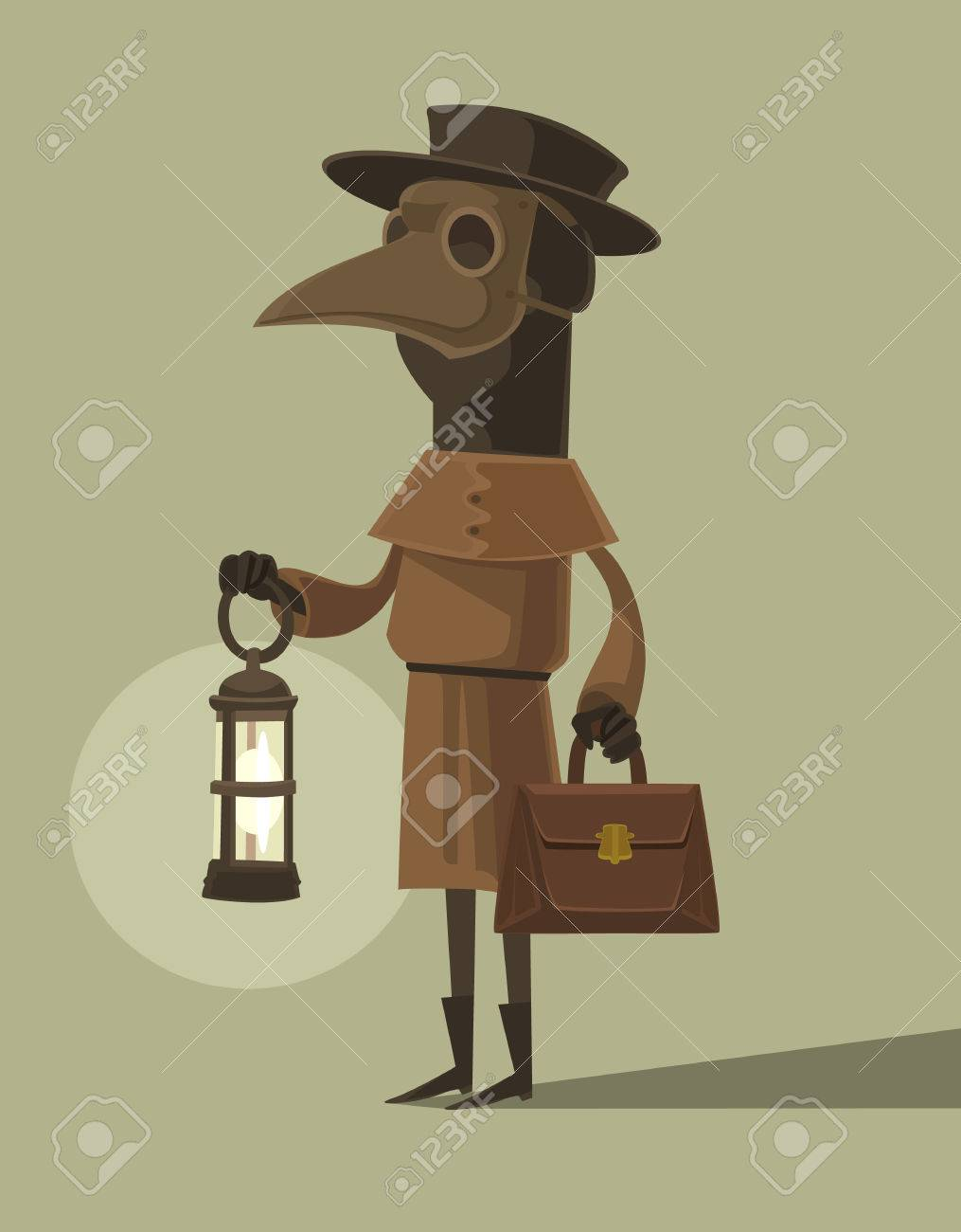 a6461da7392a9 Plague doctor character mascot in crow mask hold lamp. Vector flat cartoon  illustration Stock Vector