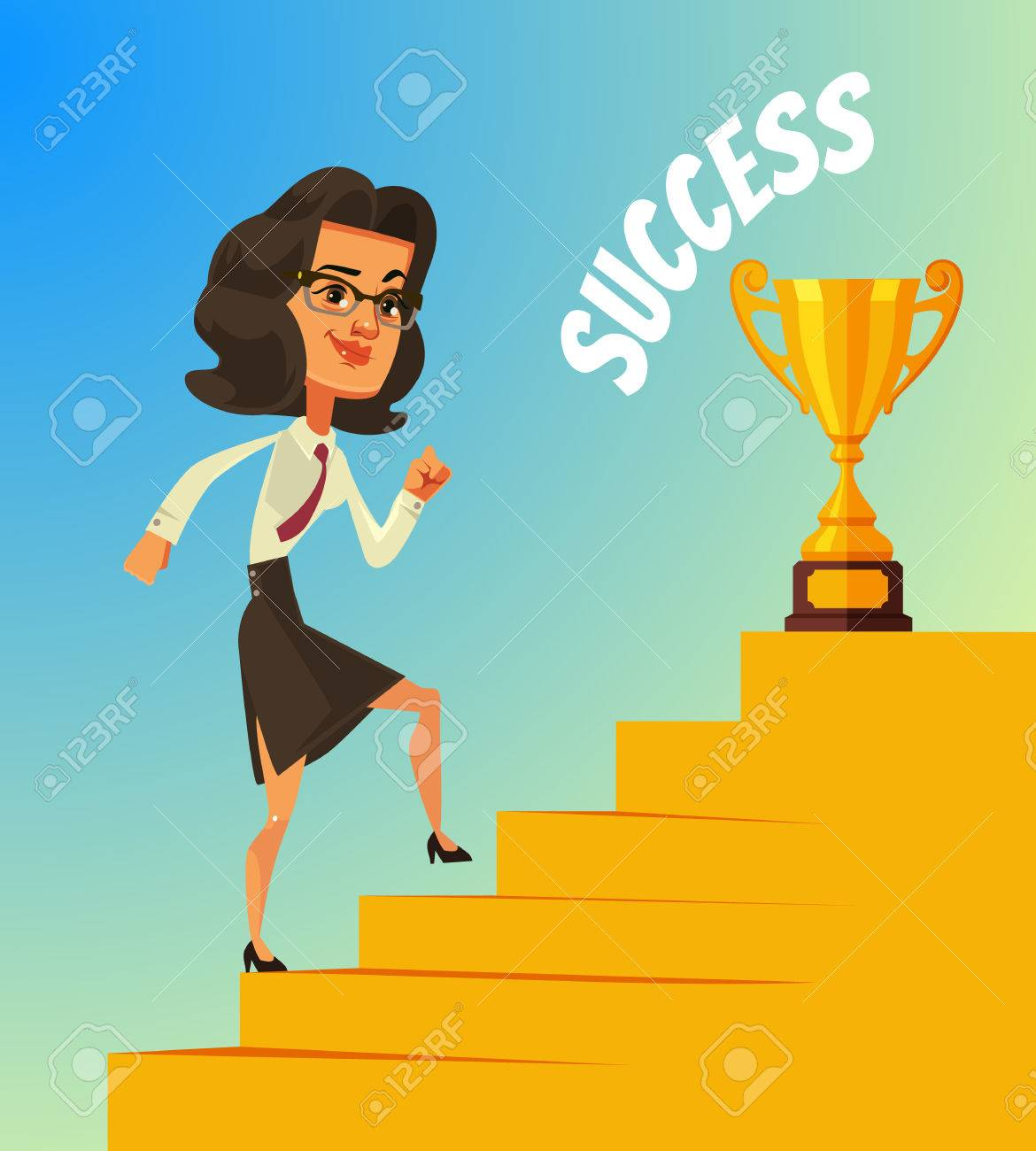 Happy Smiling Business Woman Character Climbing Stairs To Success Royalty Free Cliparts Vectors And Stock Illustration Image 76389701