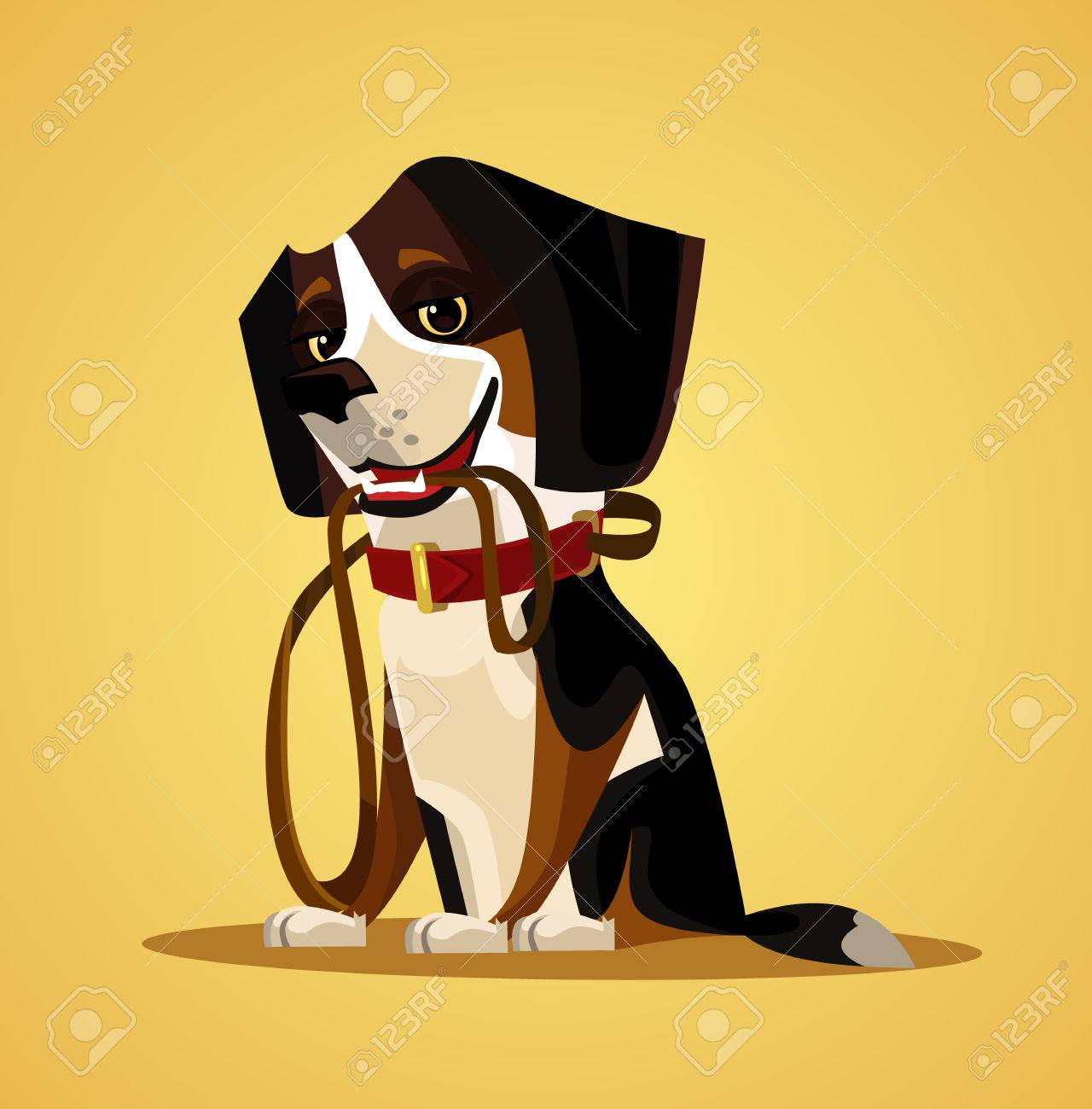 Happy smiling dog character hold leash in mouth. Vector flat cartoon illustration - 80491204