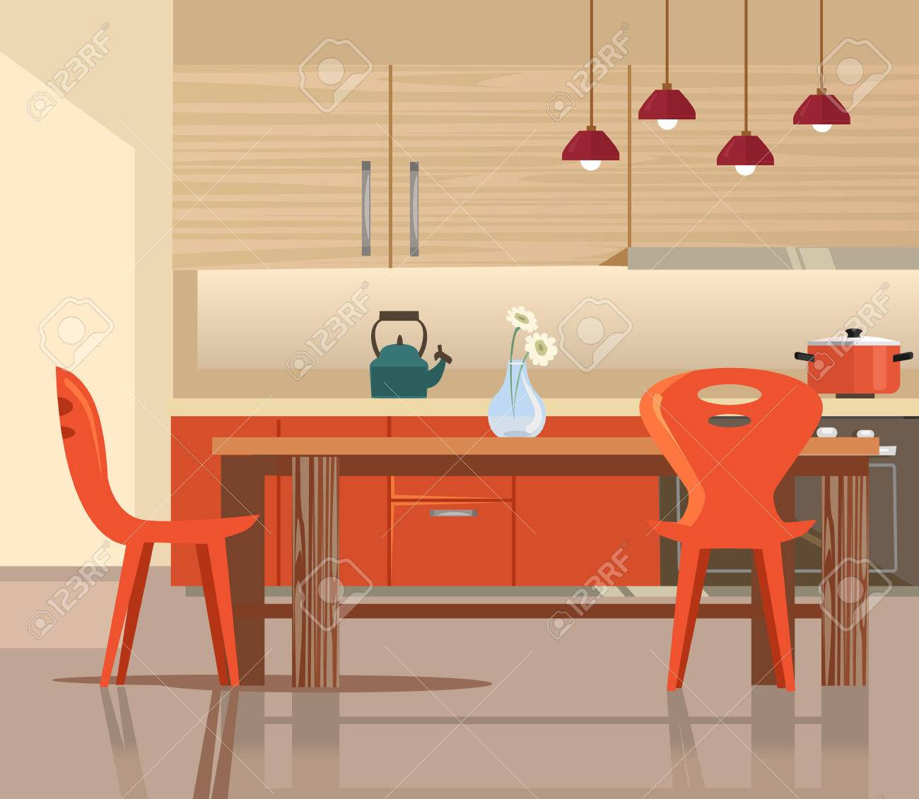 Home Kitchen Interior Vector Flat Cartoon Illustration Royalty Free