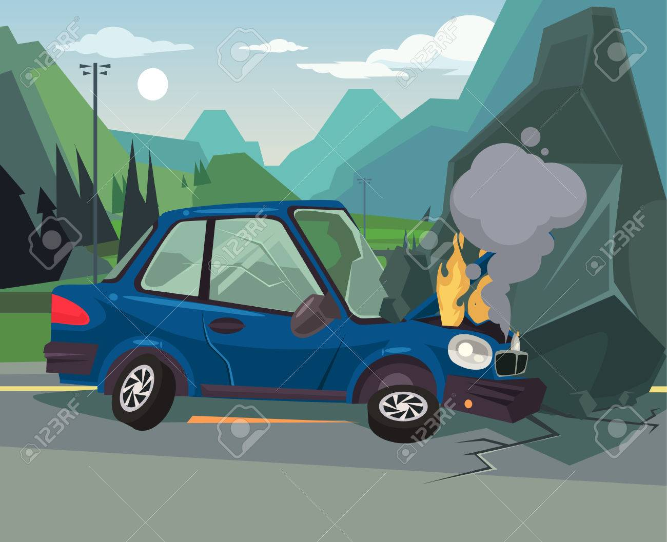 Car Accident. Vector Flat Cartoon Illustration Royalty Free Cliparts ...