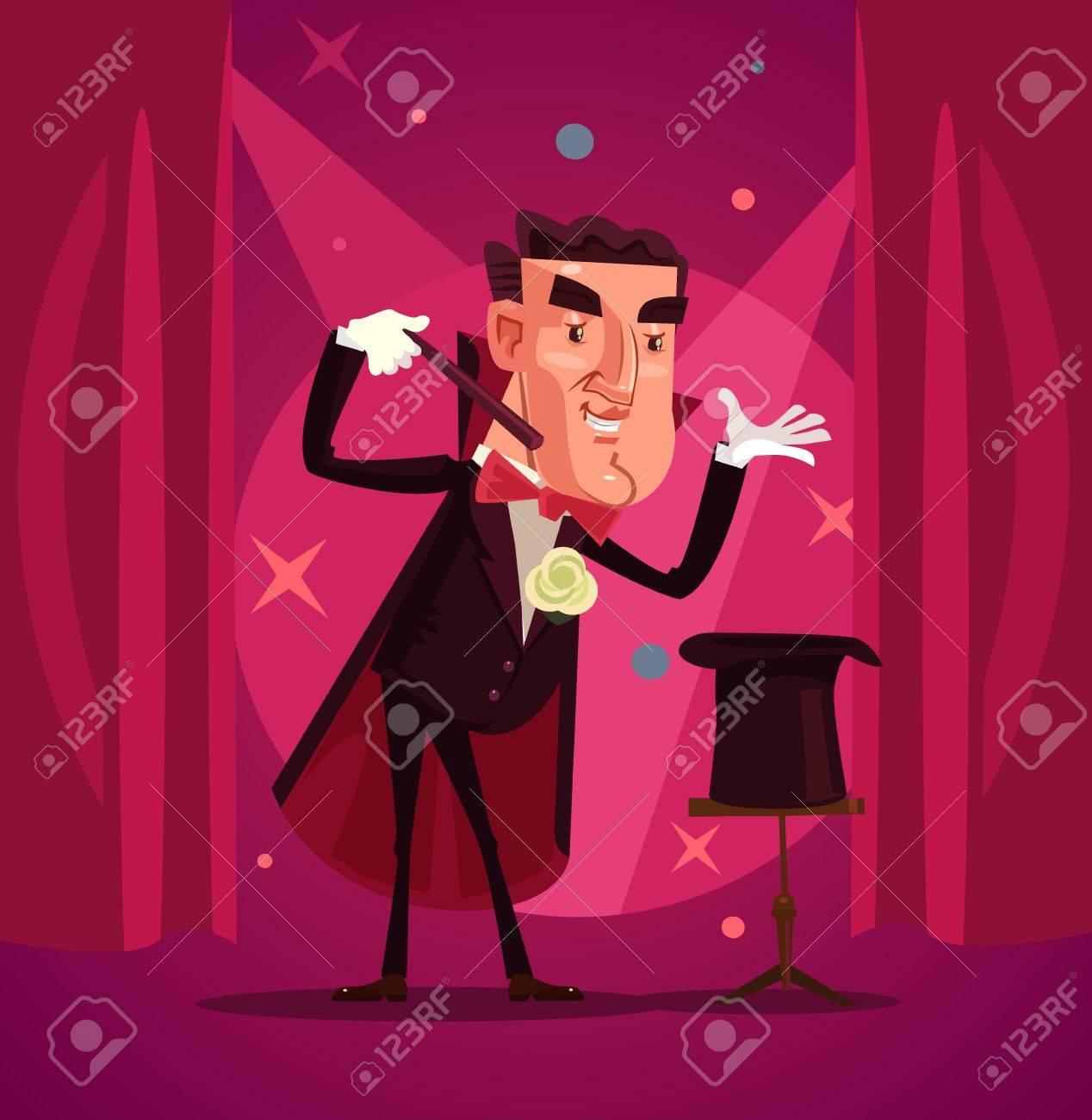 Happy smiling magician. Vector flat cartoon illustration - 83805544