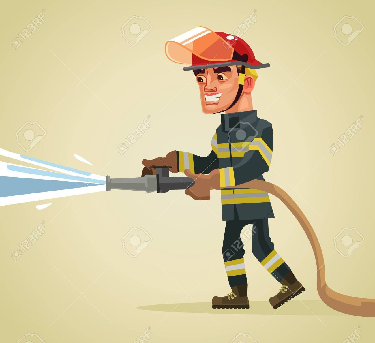 Smiling fireman character holding hose extinguishing fire with water. Vector flat cartoon illustration - 85562225