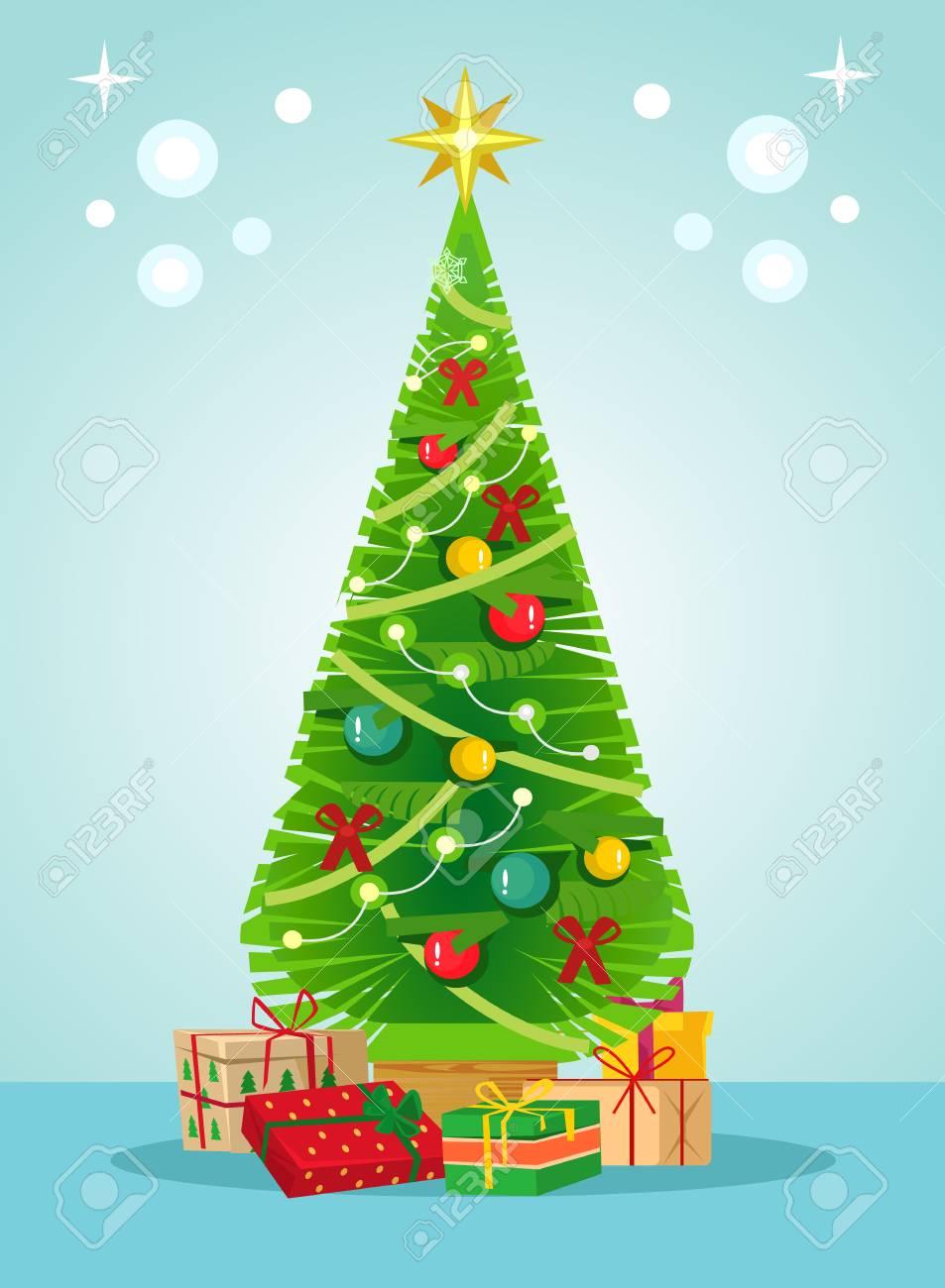 Navidad árbol Verde Pino Y Cajas De Regalo Feliz Año Nuevo Concepto