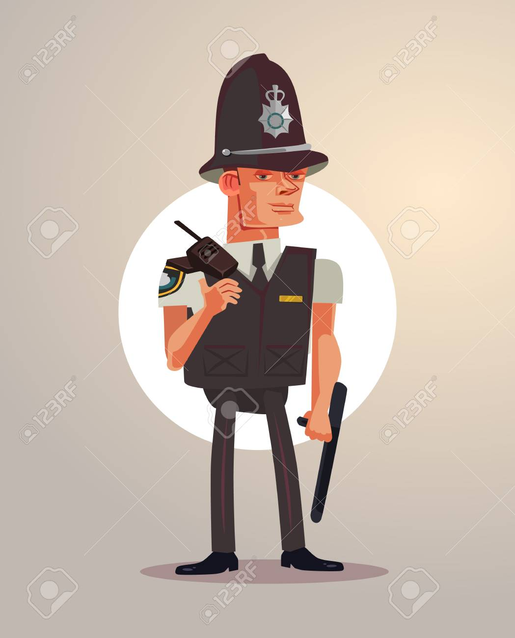 British London Policeman Character. Vector Flat Cartoon ...