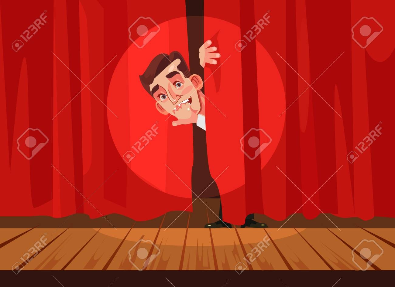 Man afraid of performing on stage, Phobia concept Vector flat cartoon illustration - 90667120