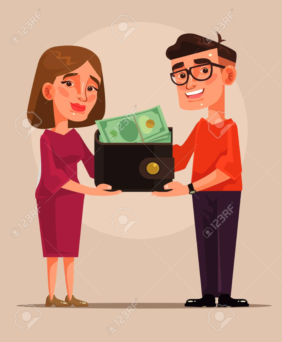 Young family budget cartoon illustration - 95644726