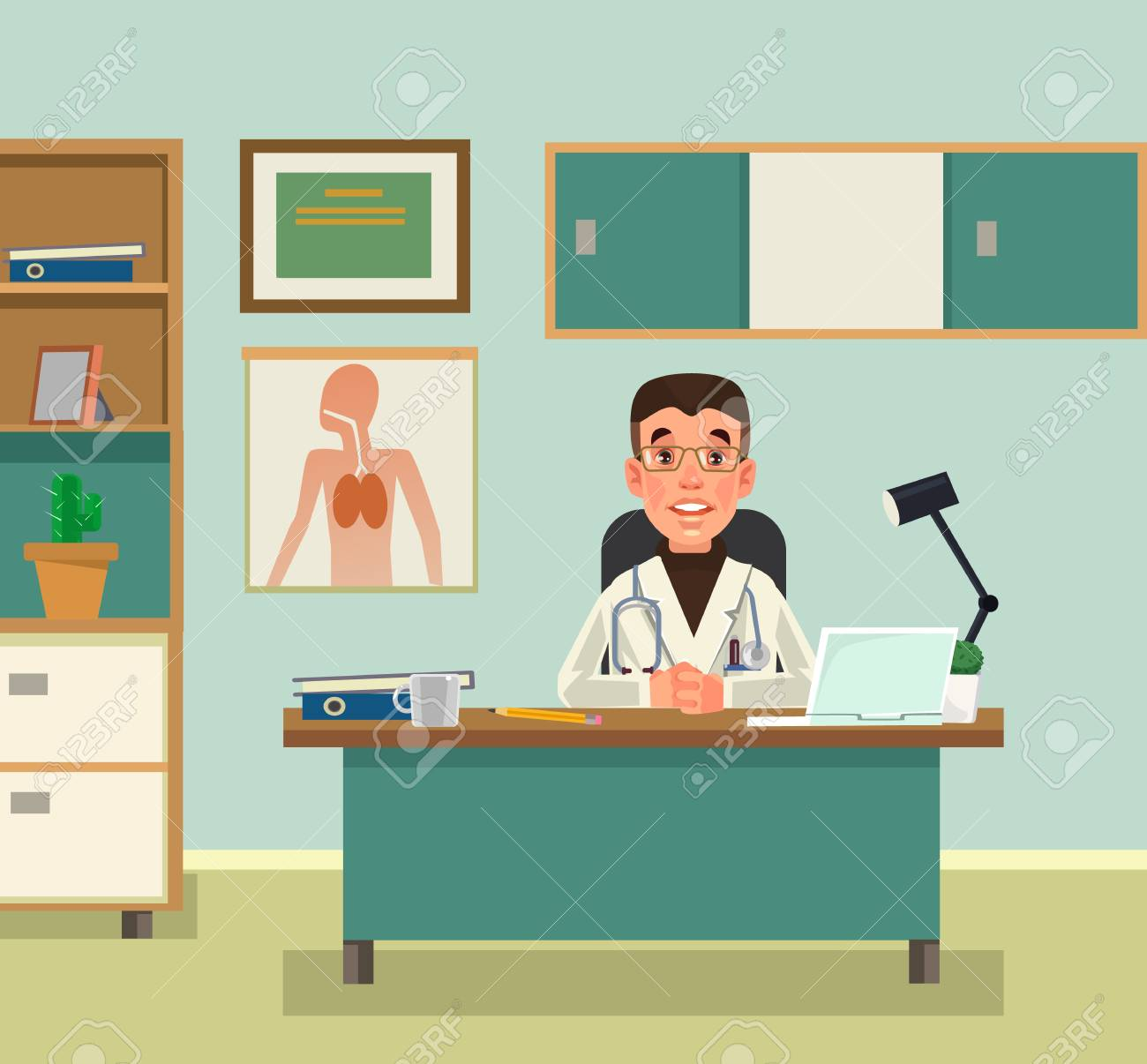 Doctor character waiting at reception. Vector flat cartoon illustration - 95732724