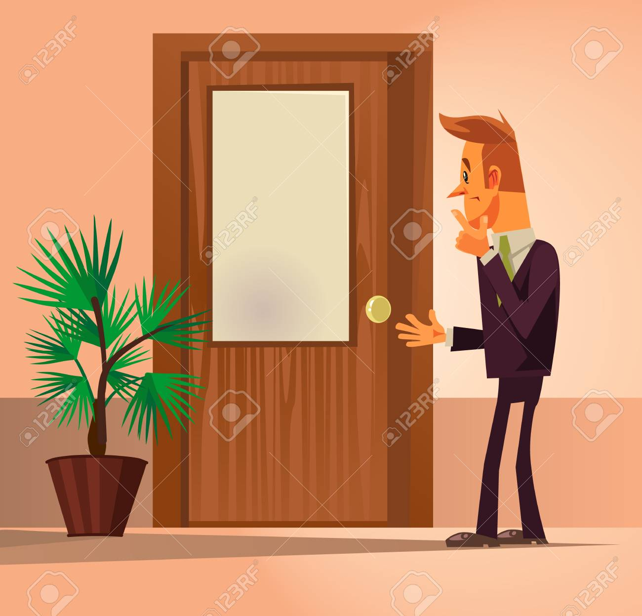 Confusion office worker man character standing by closed door and thinking. Vector flat cartoon illustration - 97189140