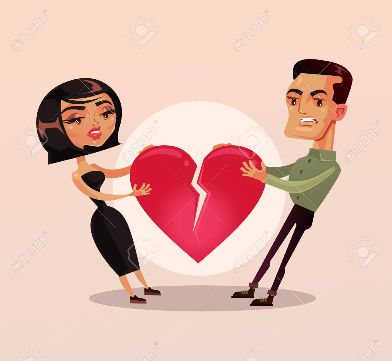 Sad unhappy couple man and woman family wife and husband character quarrel and pulling heart and broke. Misunderstanding Vector flat cartoon isolated illustration - 97988017
