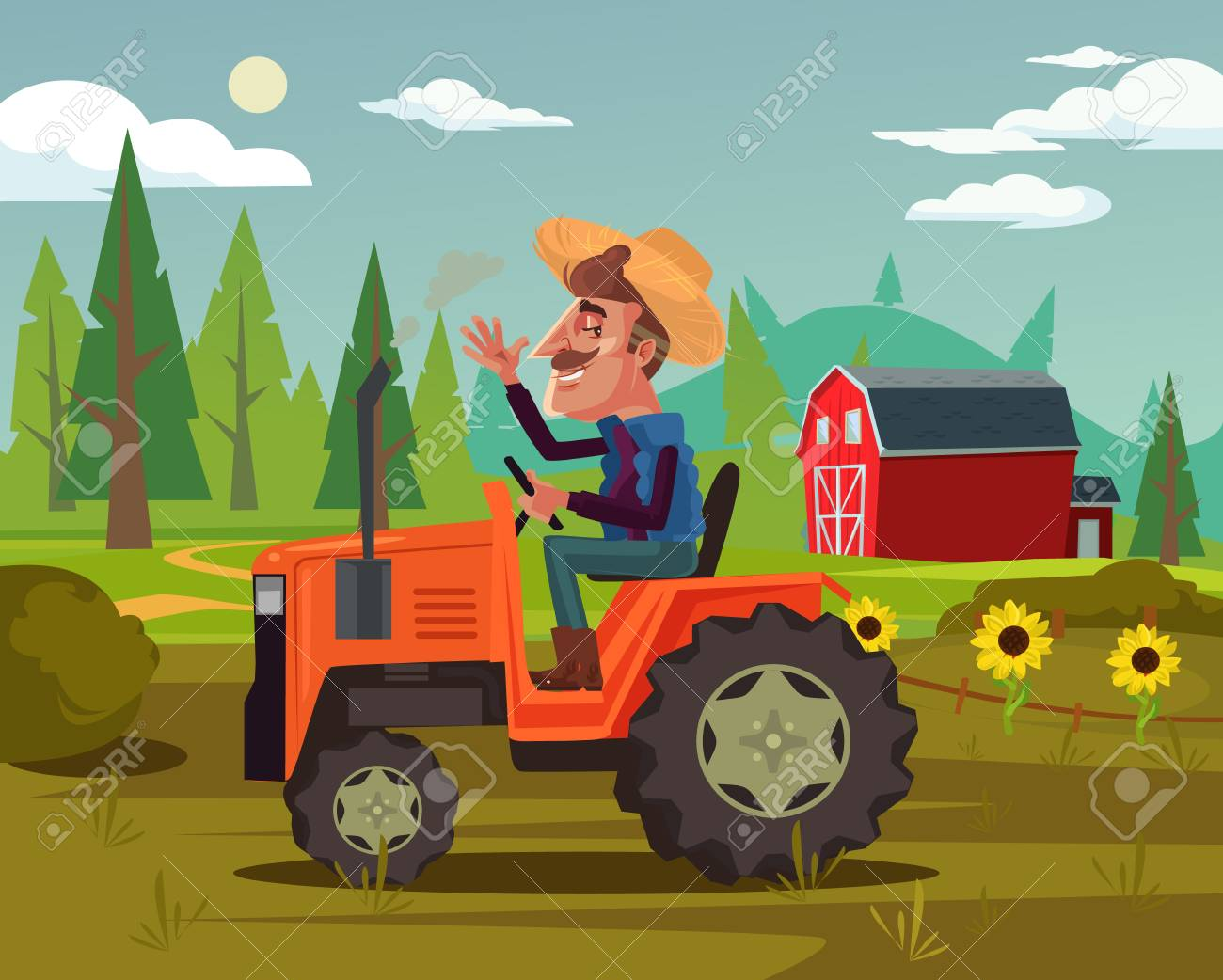 Happy smiling farmer. Agriculture farming country side flat cartoon graphic design concept illustration - 103775934
