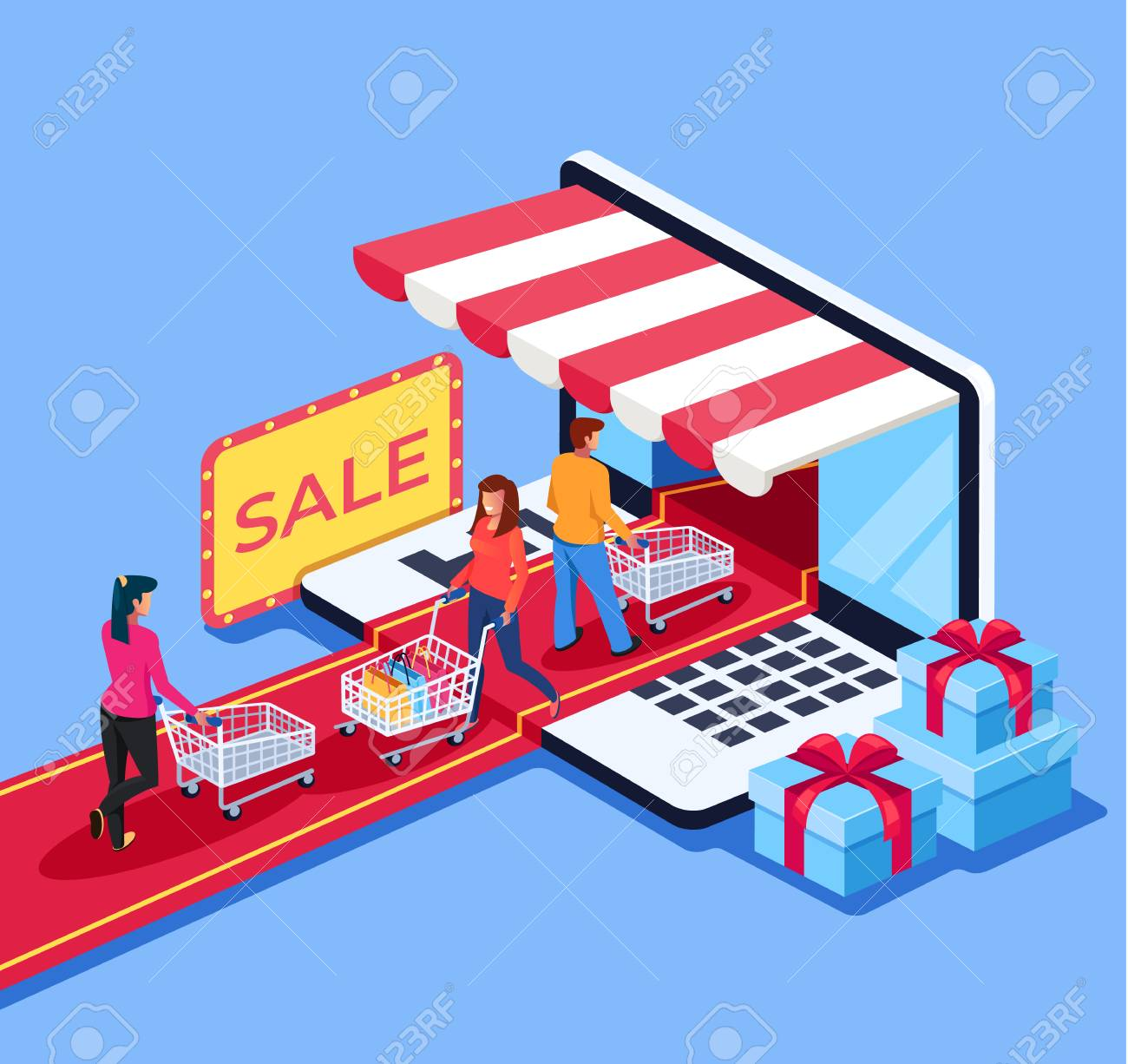 People consumers go to the internet shop market. Online e commerce retail store shopping concept. Vector design graphic flat cartoon isolated illustration - 113801510