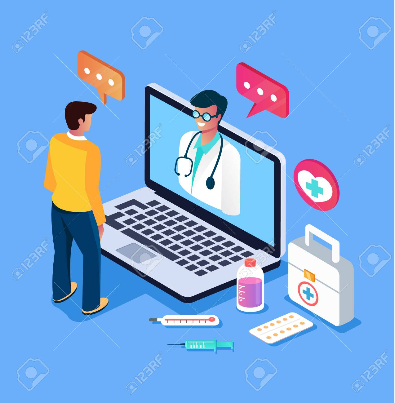 Patient man character calling doctor by internet computer pc Online doctor consultation medicine concept. Vector design graphic flat cartoon isolated illustration - 113801516