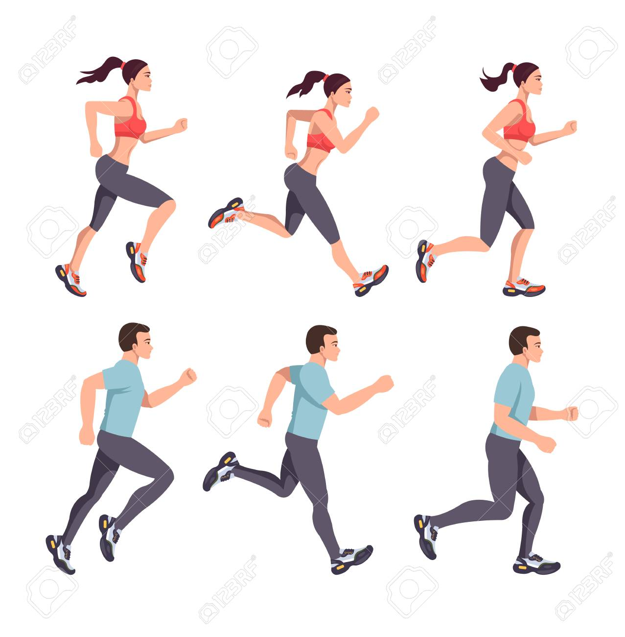 Sport people man and woman characters run. Running stage steps marathon healthy lifestyle concept. Vector flat graphic design isolated illustration set - 119101864