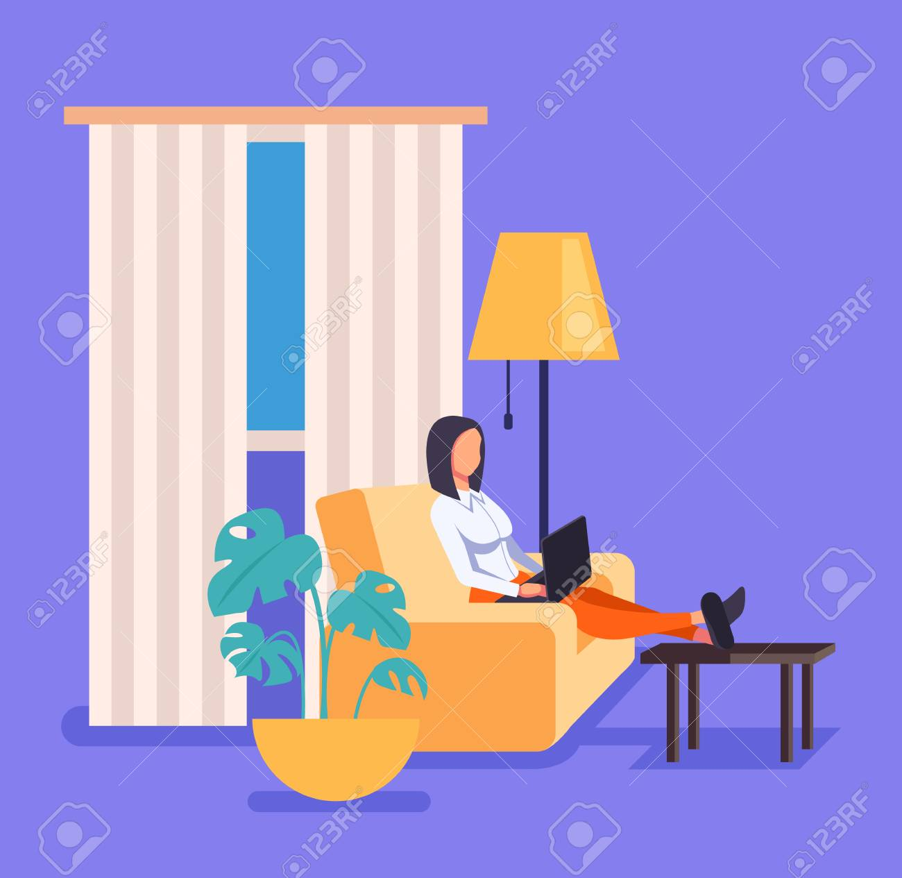 Woman freelancer worker working at home in living room. Vector flat cartoon graphic design illustration - 122473920
