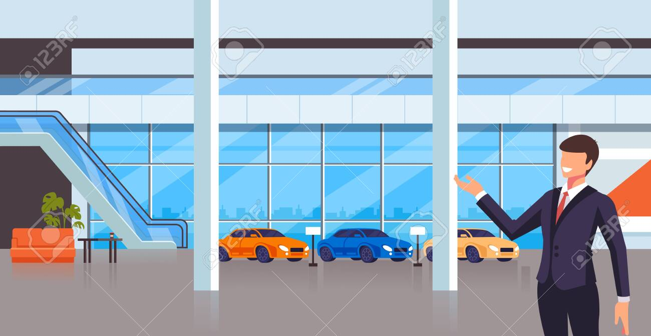 Sale seller man character present new cars. Transport shop store concept. Vector design flat graphic cartoon illustration - 122474954