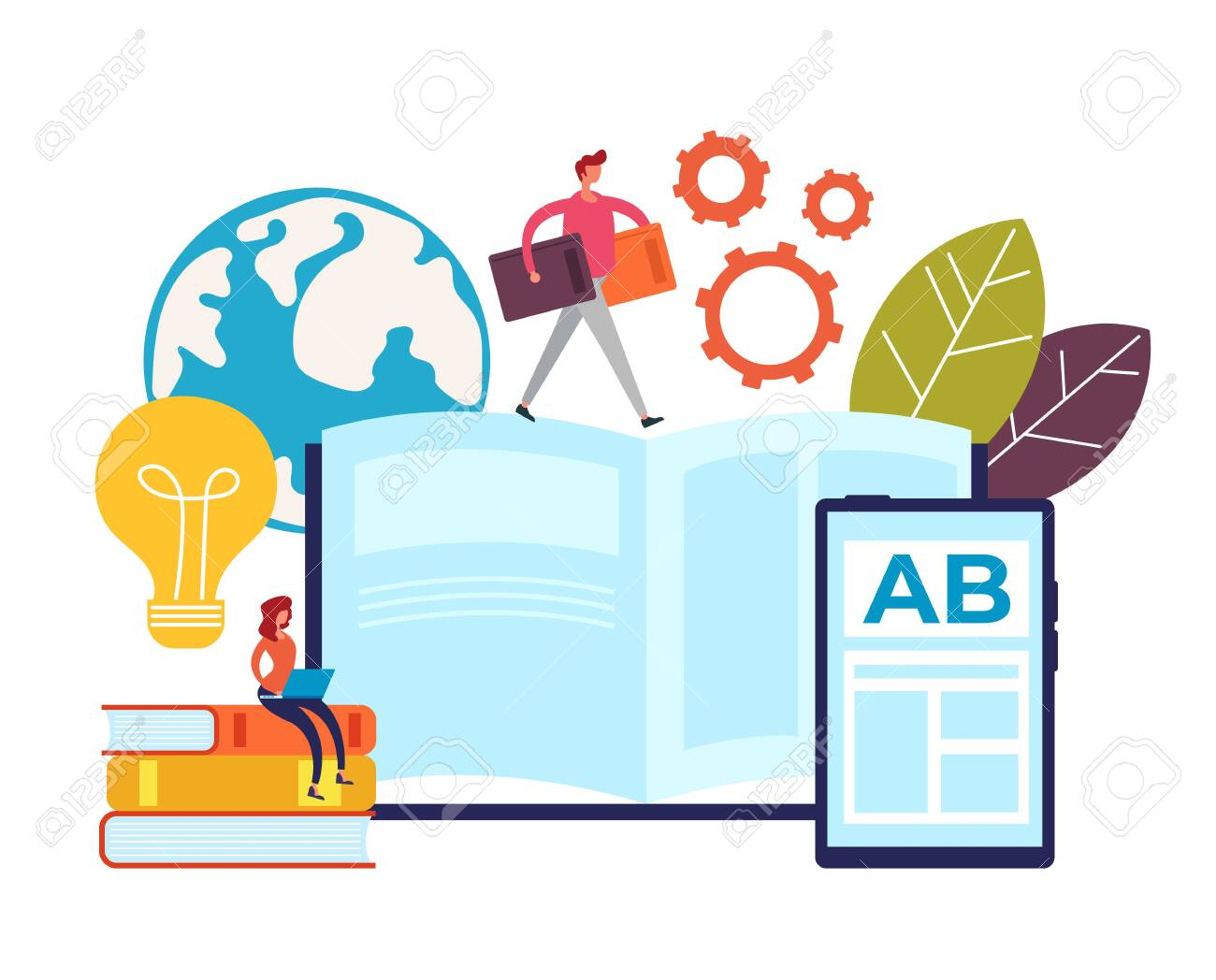 Online teaching learning education concept. Vector graphic design flat cartoon illustration - 131909853