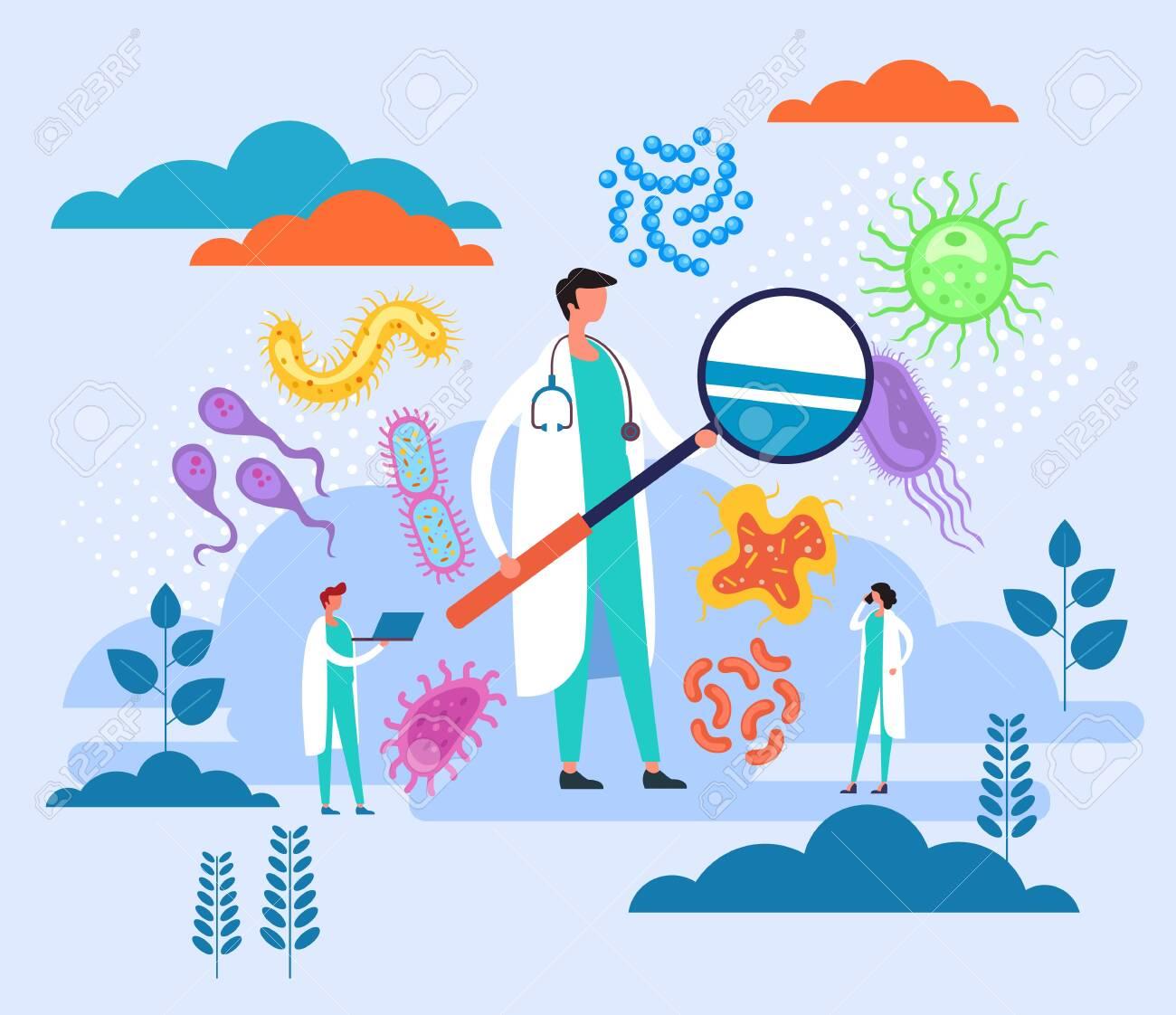 Epidemiology research laboratory concept. Vector flat graphic design cartoon illustration - 133248991
