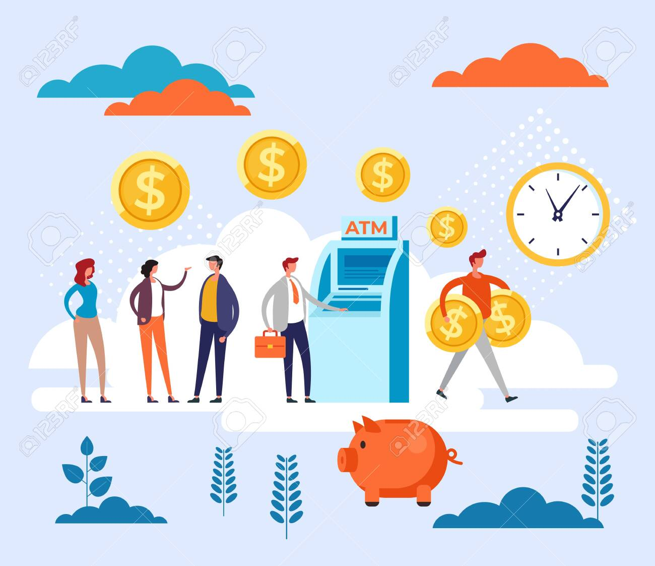 People waiting in line ATM transaction. Banking queue concept. Vector flat cartoon graphic design illustration - 134194338