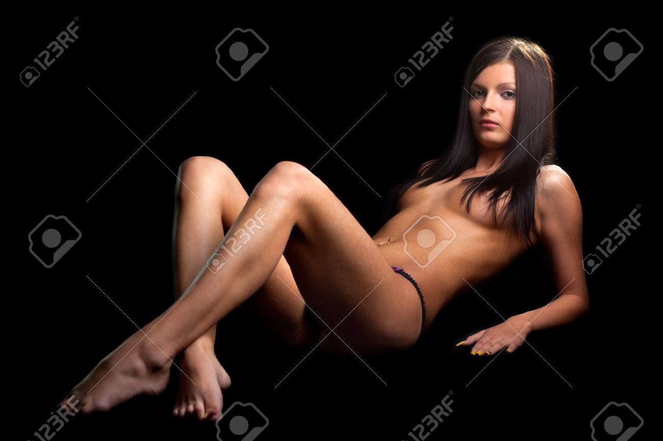 perfect nude girl . on black background stock photo, picture and