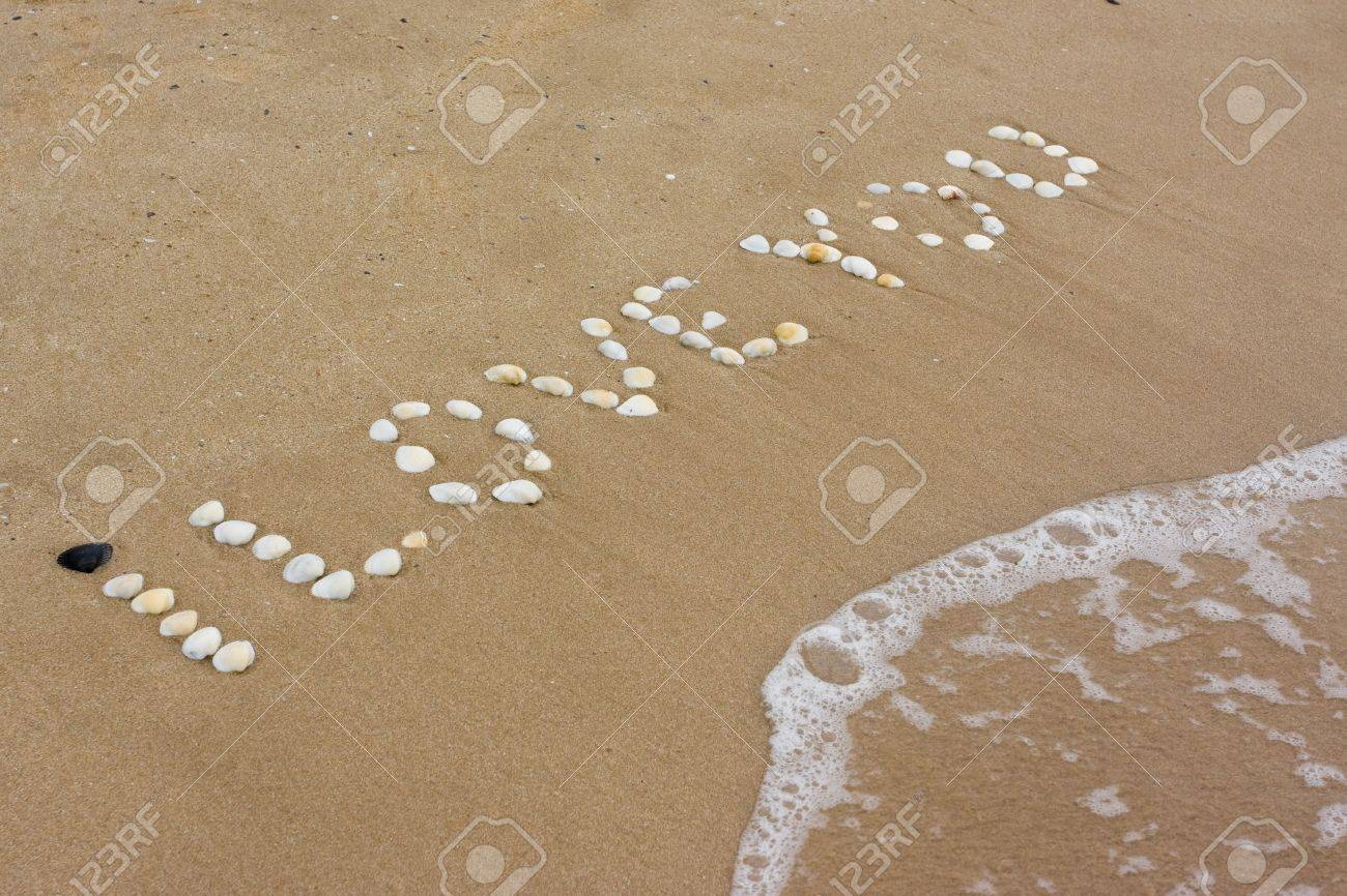 I Love you in sand on a a beach Stock Photo - 7167238