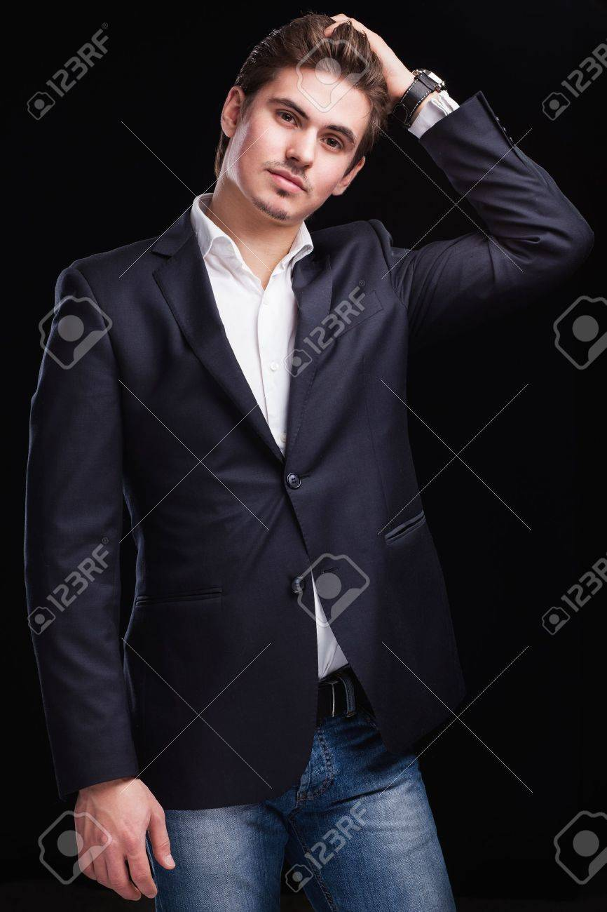 Fashion Young Businessman Black Suit On Dark Background Stock ...