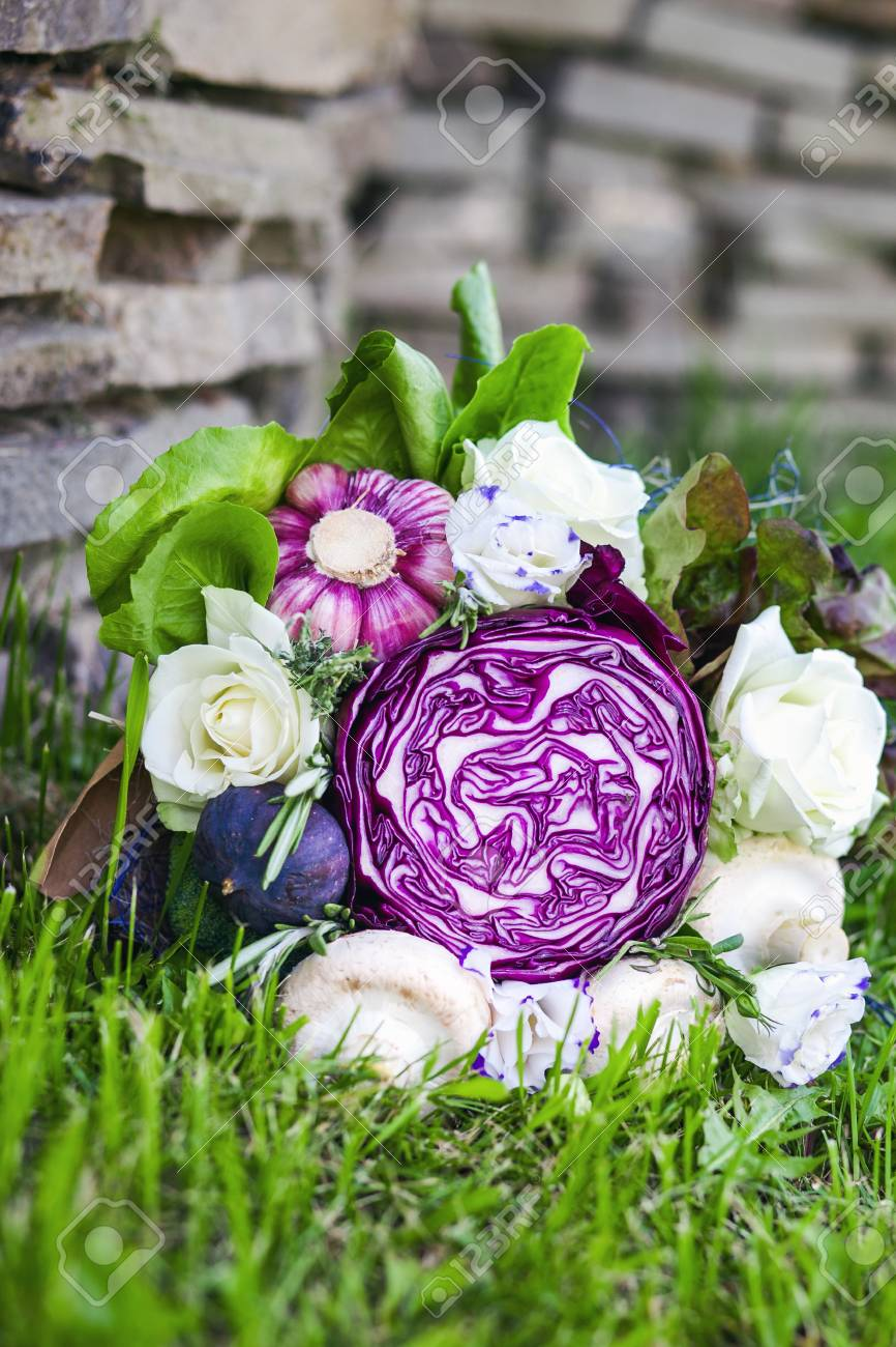 The Original Unusual Edible Bouquet Of Vegetables On A Grass Stock ...