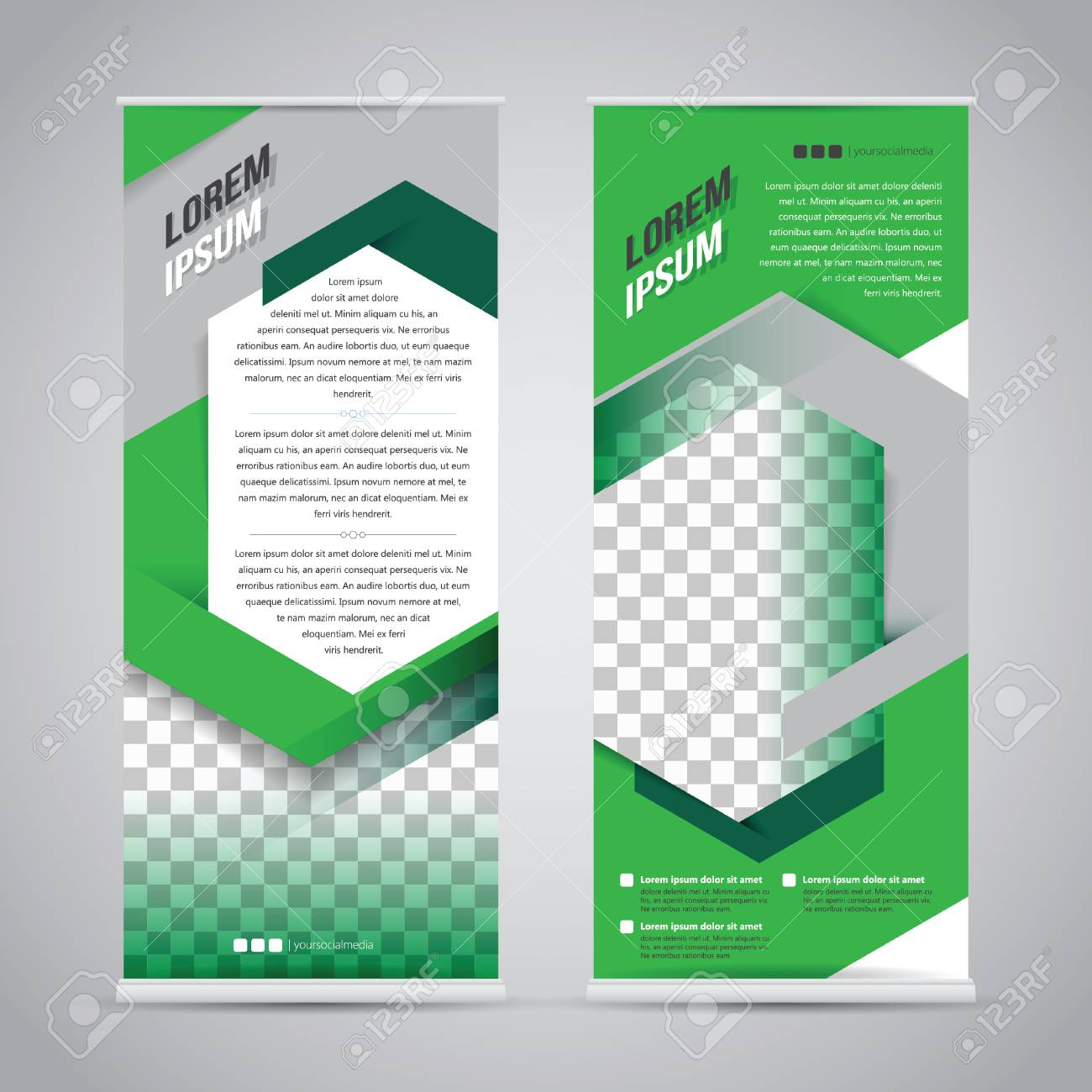 Green Roll Up Banner Stand Design Template