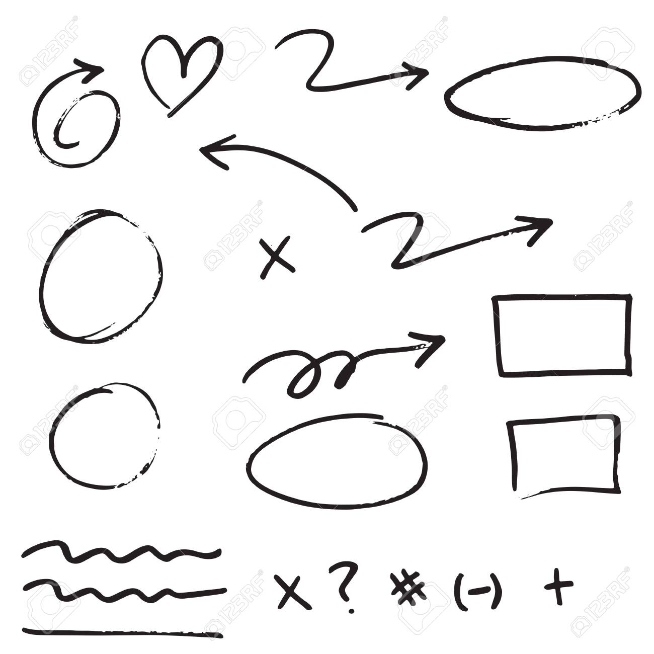 doodle design element. Doodle lines, Arrows, Check mark, circles and curves vector.hand drawn design elements isolated on white background. - 148513869