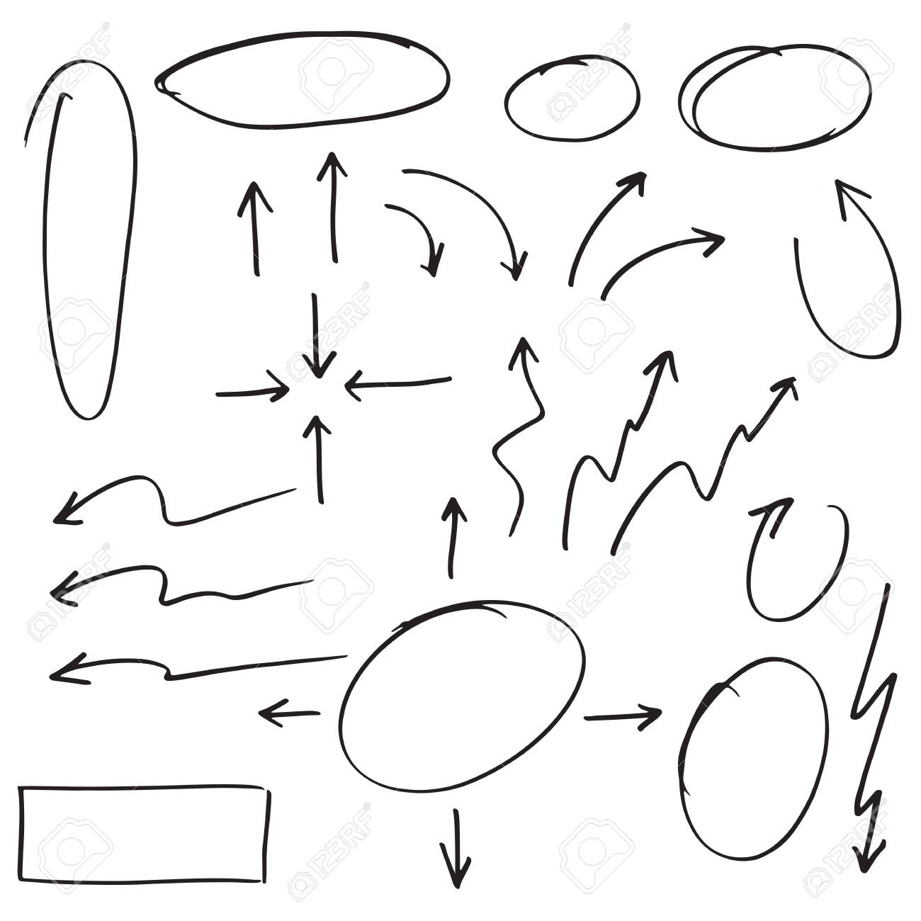 doodle design element. Doodle lines, Arrows, Check mark, circles and curves vector.hand drawn design elements isolated on white background. - 148513871