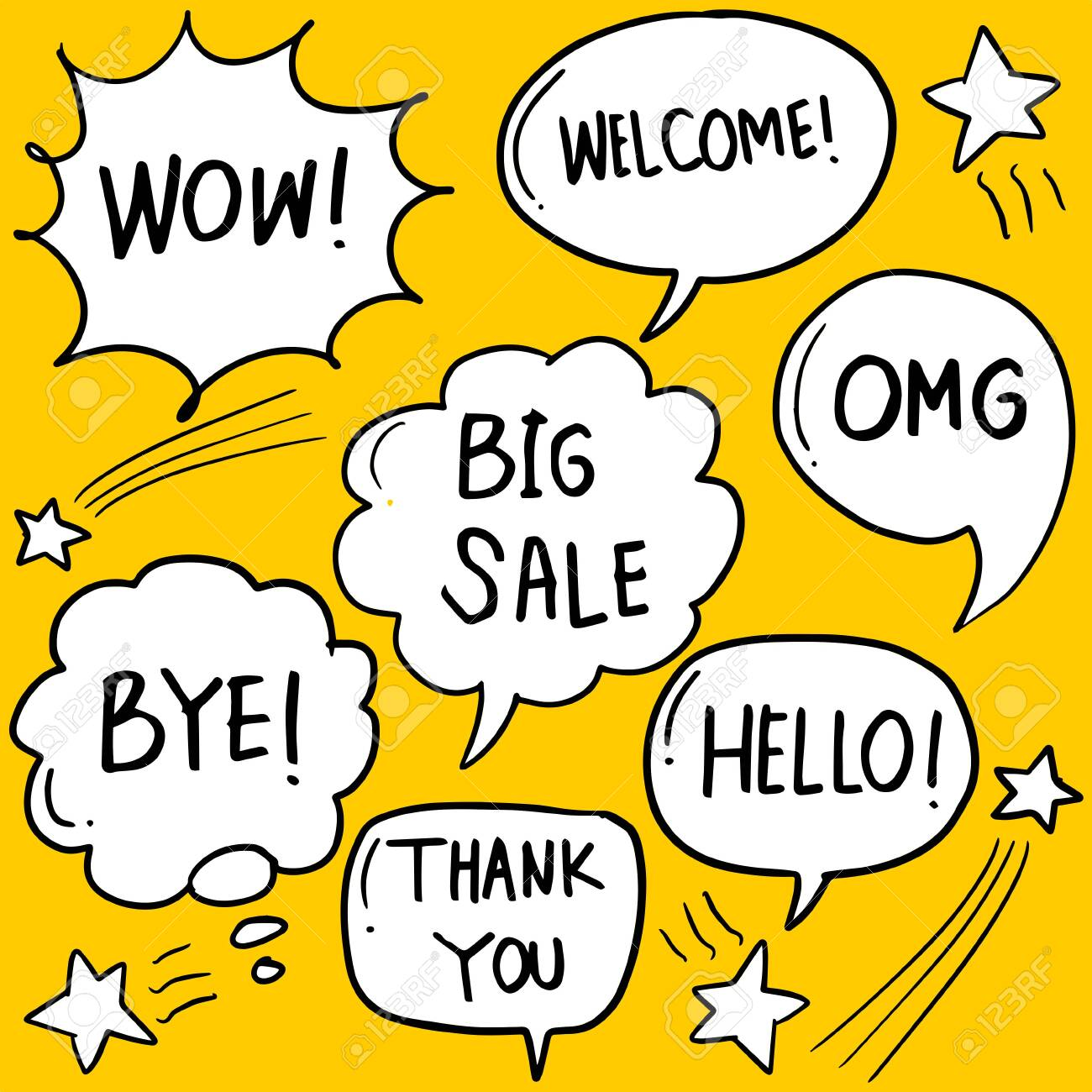 Hand drawn set of speech bubbles with handwritten short phrases hello, hi, best, thank you, omg, wow, yes, nice, love, welcome, ok, cool, no. - 151631278
