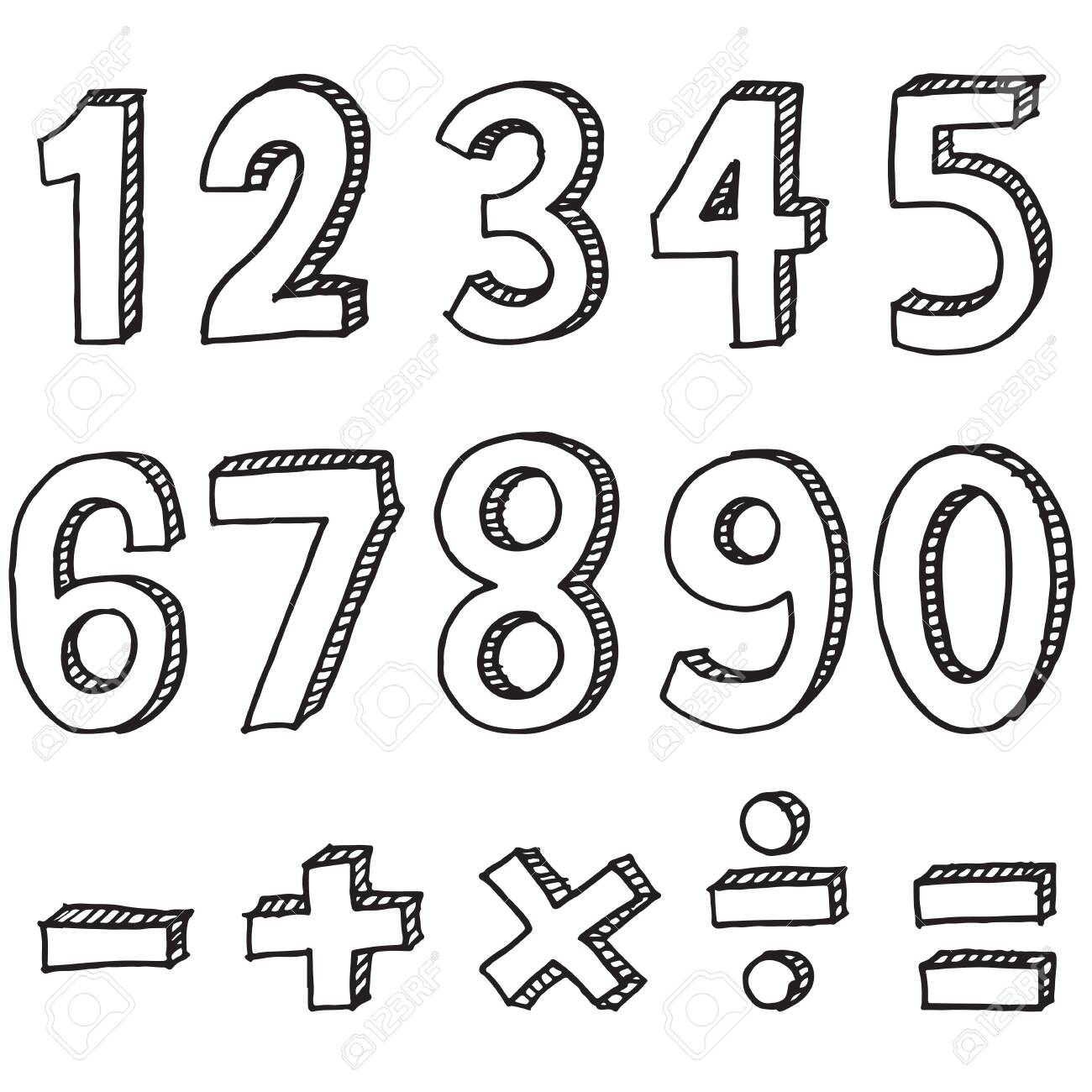 Hand drawn colorful numbers. doodle numbers for children's themes isolated on white background. - 151632974