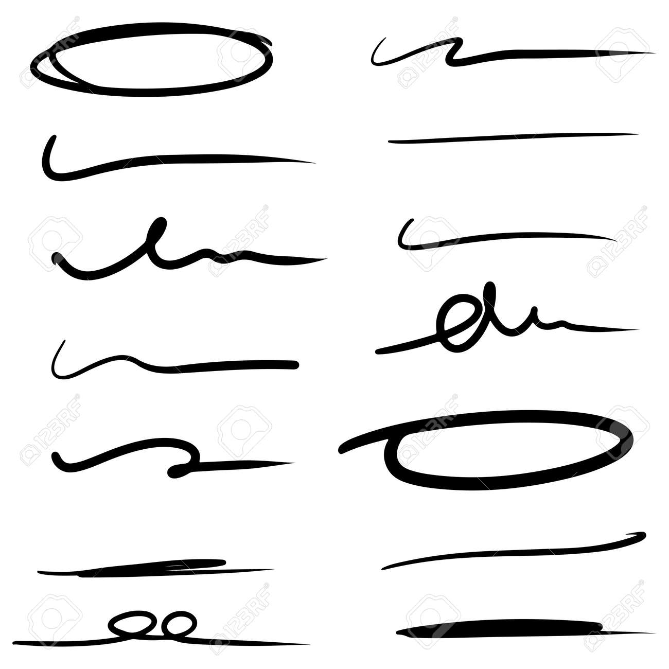 hand drawn line for marking text and circle marker set isolated on white background. vector illustration. - 169834443