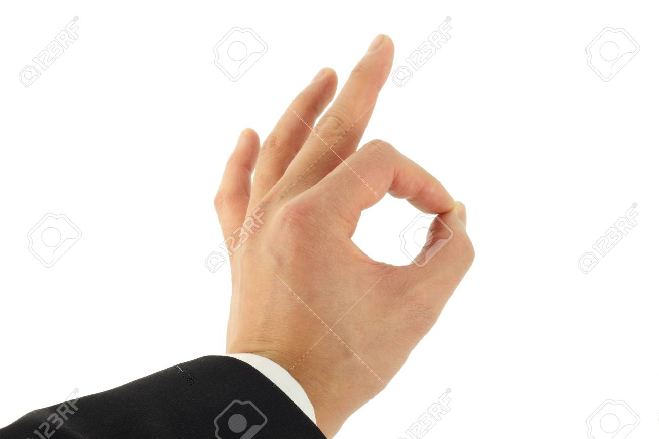 Business man's hand signing okay Stock Photo - 4129636