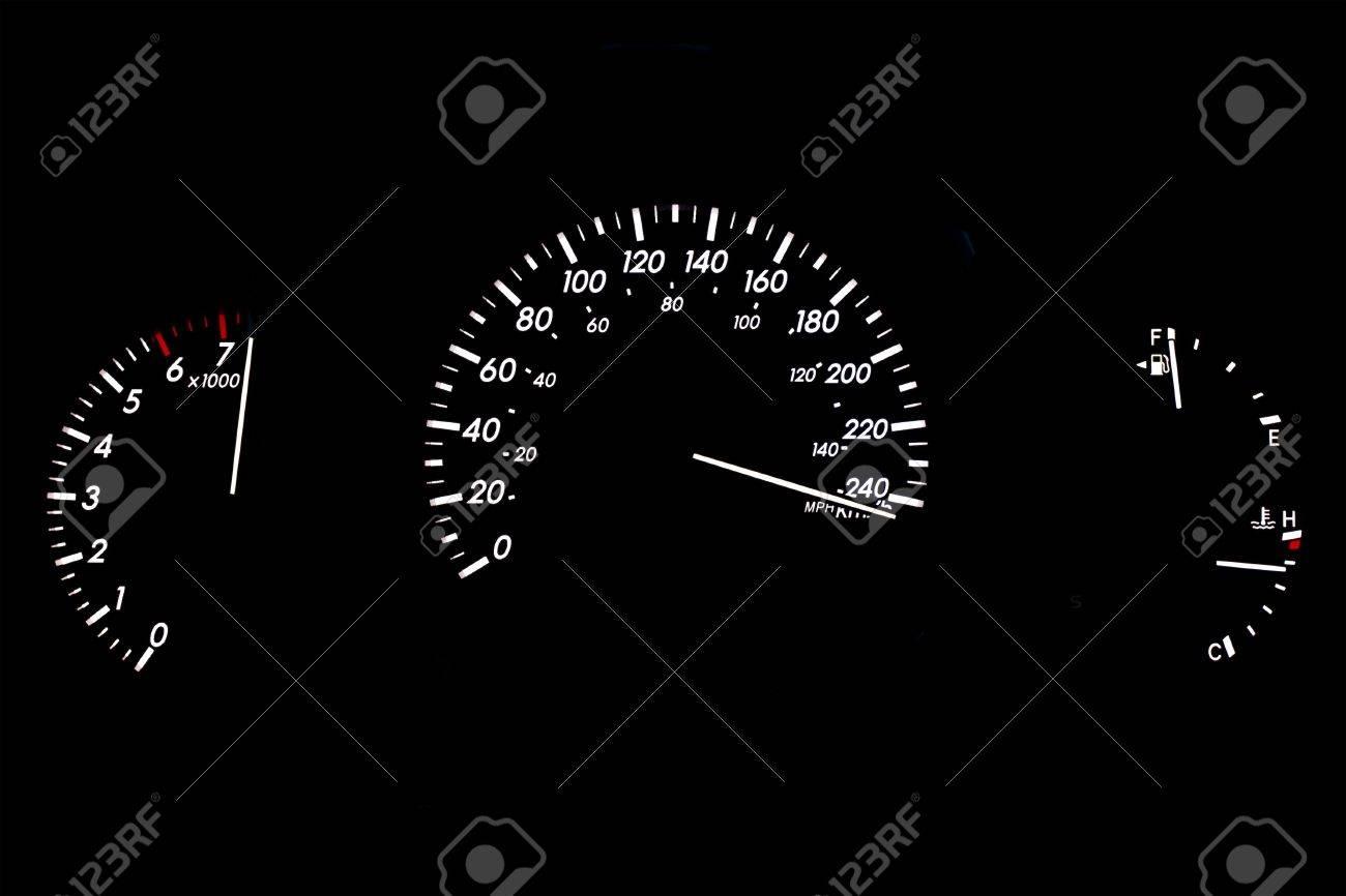 Speeding Car Gauge Display Isolated on Black - 4920196