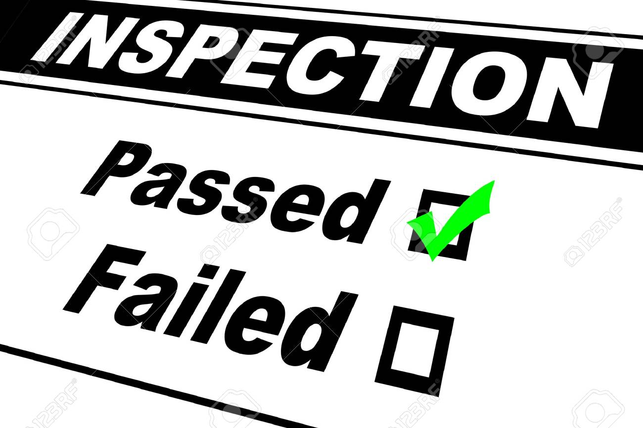 Inspection report results filled out with Passed chosen isolated on white - 4943844