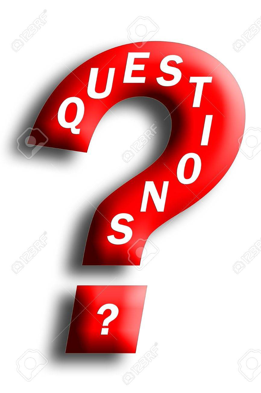 Questions concept embedded in a question mark isolated on white Stock Photo - 4957913