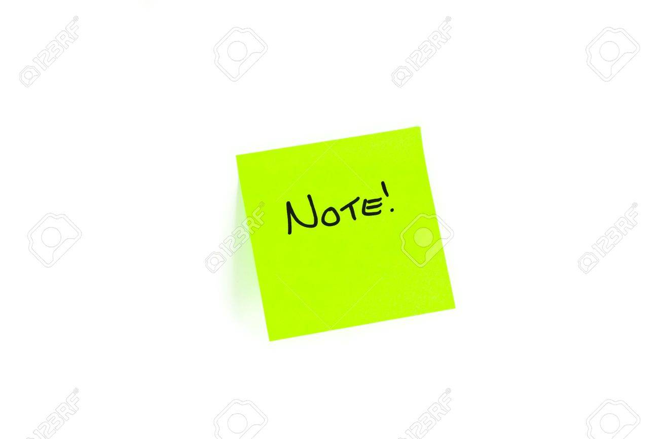 Post-it With The Word NOTE! Written On It. Stock Photo, Picture ...