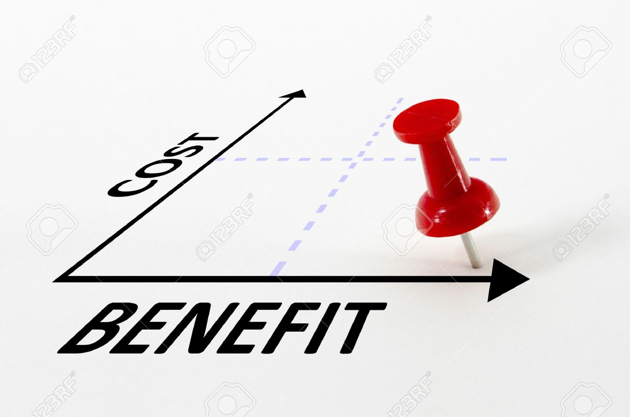 Cost benefit analysis concept on a graph with a thumb nail pin target marker - 9235055