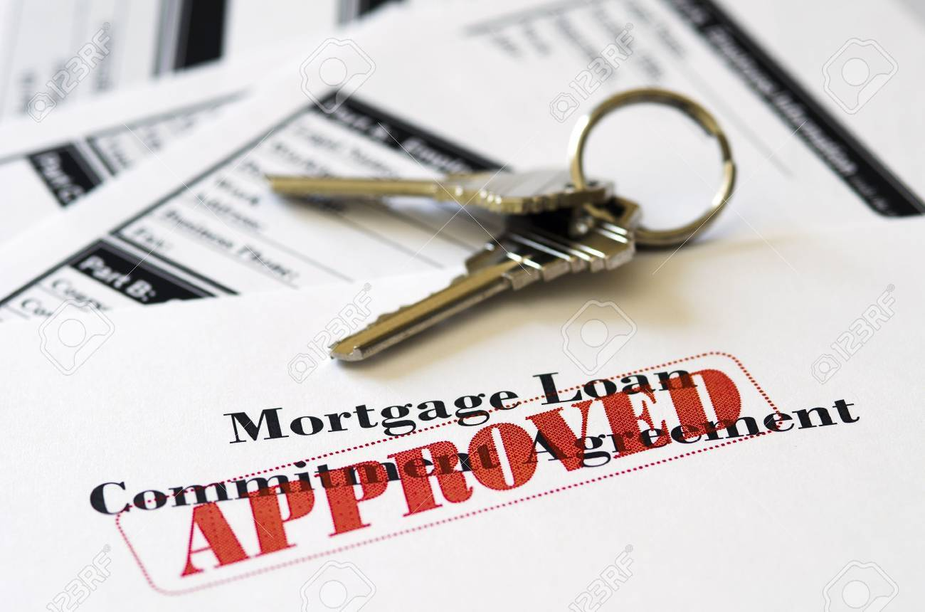 Real Estate Mortgage Approved Loan Document With House Keys Stock Photo - 14556659