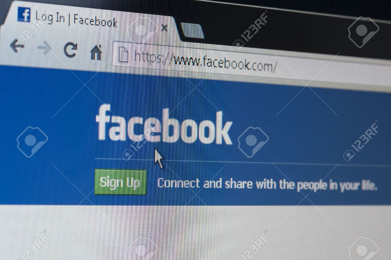 Secure Facebook Log In Or Sign Up Home Page Stock Photo - 17392904