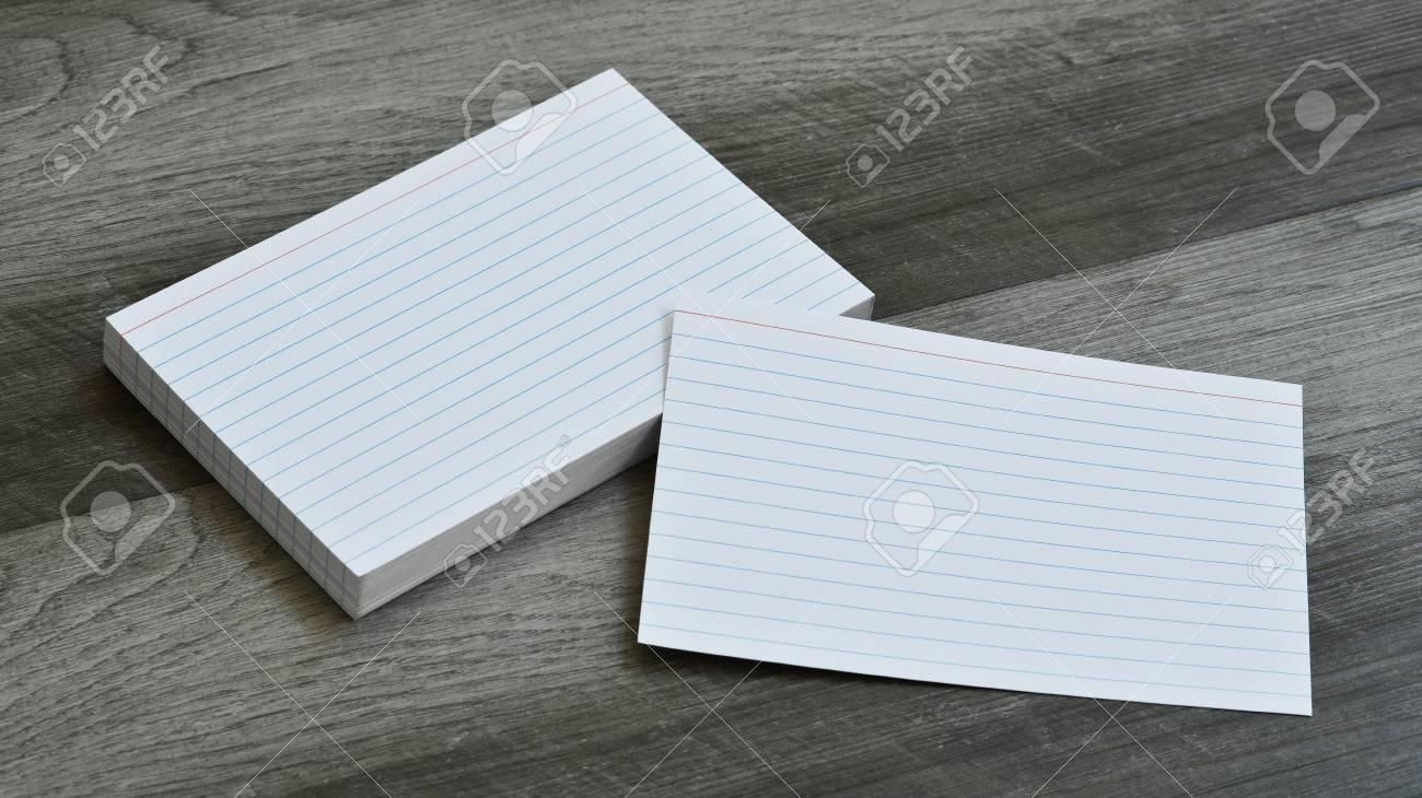 Blank Flash Index Note Cards on Dark Grey Wood Background - 106385124