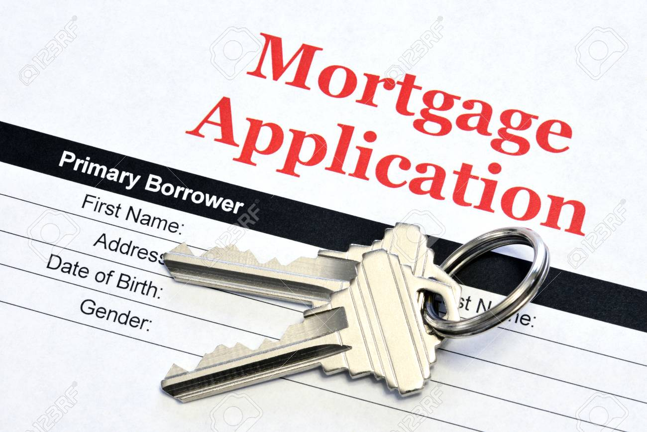 Real Estate Mortgage Application Loan Document With House Keys - 106385137
