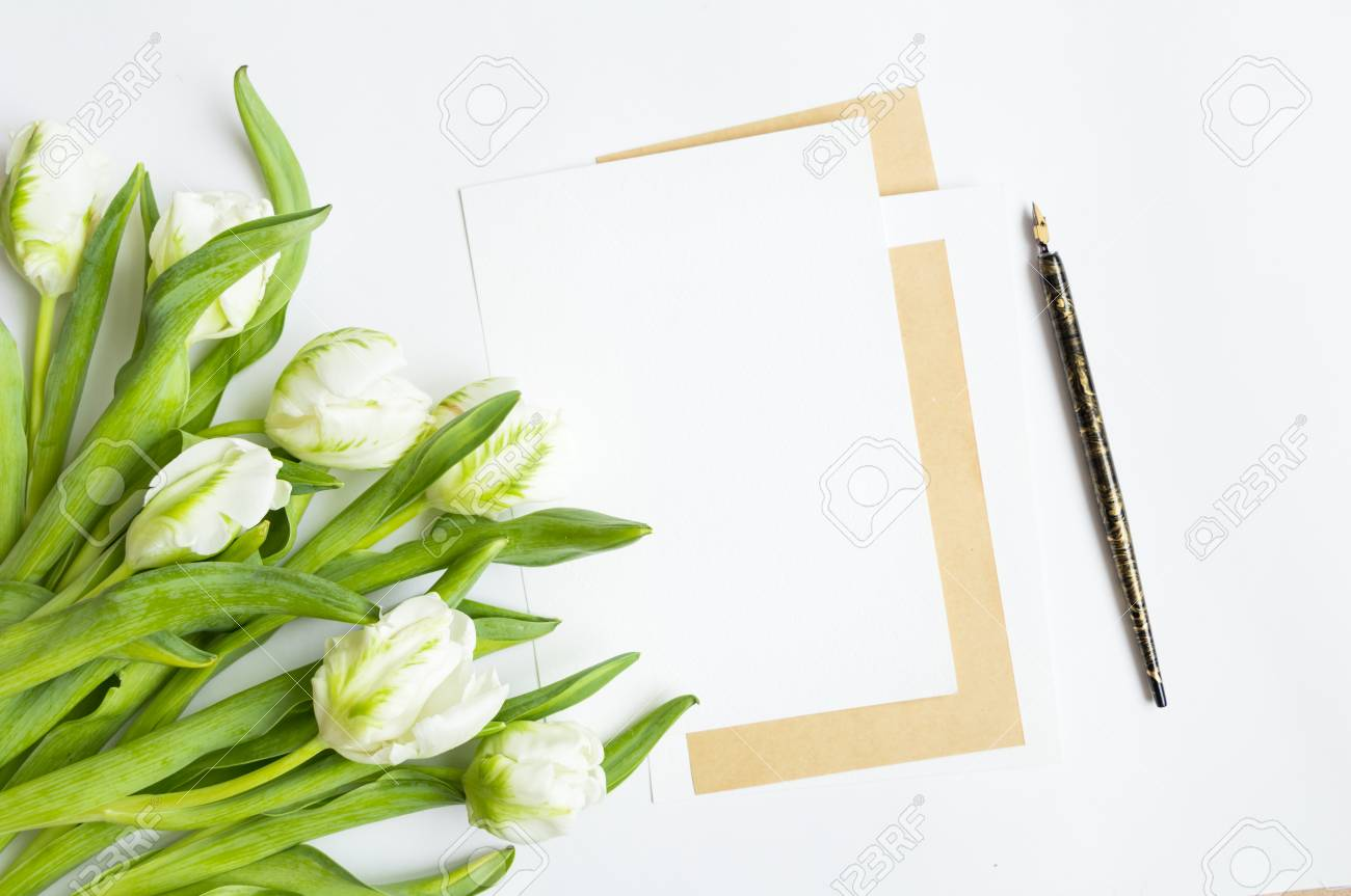 Letter Vintage Pen And Fresh Bouquet On White Background Wedding