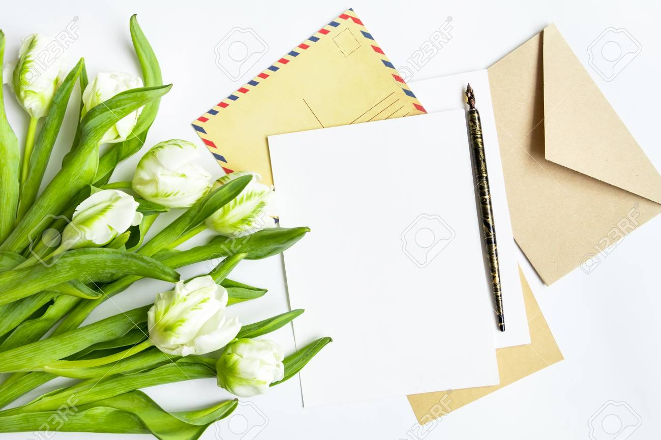 Letter, Envelope And Fresh Bouquet On White Background. Wedding ...